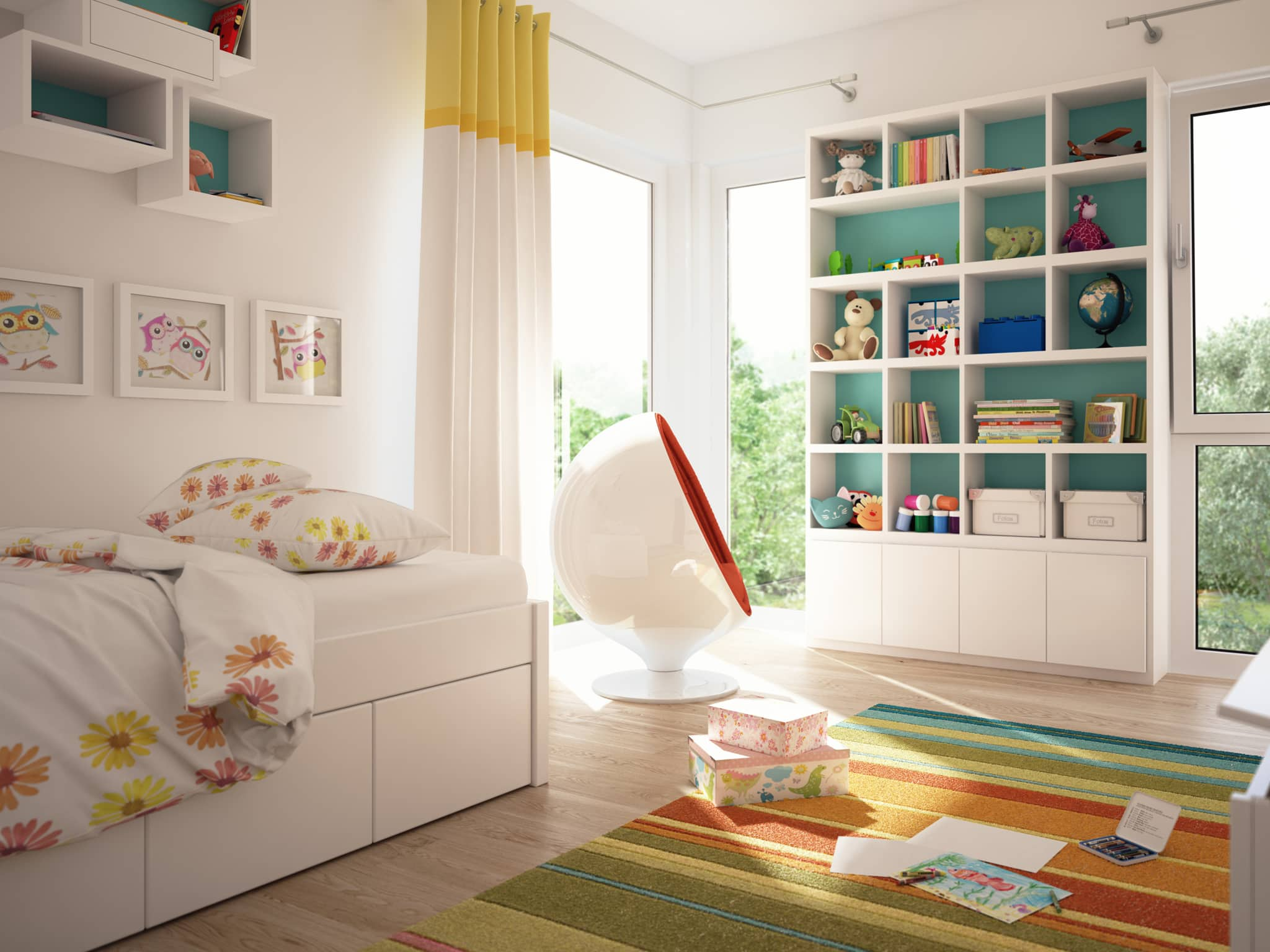 Kinderzimmer Ideen modern weiss - Inneneinrichtung Wohnideen Fertighaus Stadtvilla SUNSHINE 113 V8 von Living Haus - HausbauDirekt.de