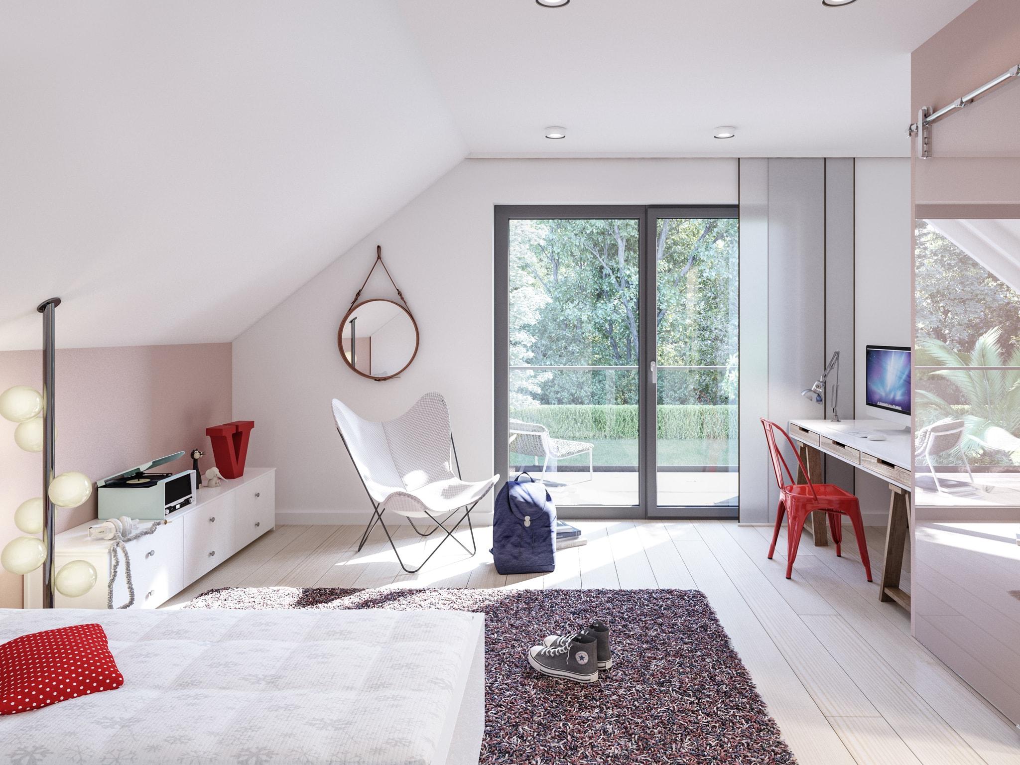 Kinderzimmer mit Dachschräge - Ideen Inneneinrichtung Bien Zenker Fertighaus FANTASTIC 165 V5 - HausbauDirekt.de