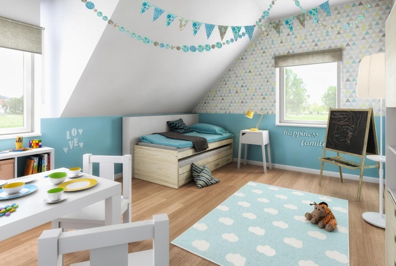 Kinderzimmer Junge blau mit Dachschräge - Inneneinrichtung Ideen Town Country Haus Flair 125 Style - HausbauDirekt.de