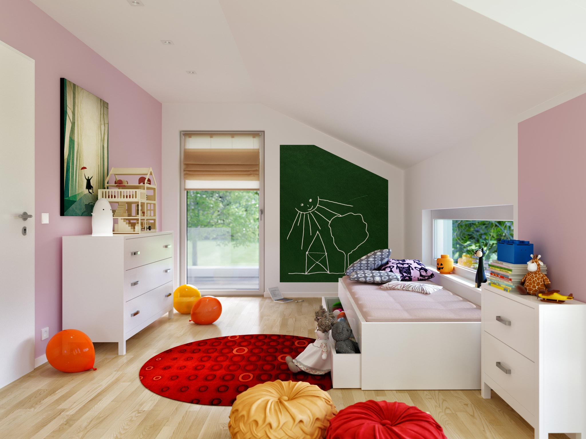 Kinderzimmer mit Dachschräge - Wohnideen Inneneinrichtung Bien Zenker Fertighaus FANTASTIC 162 V4 - HausbauDirekt.de