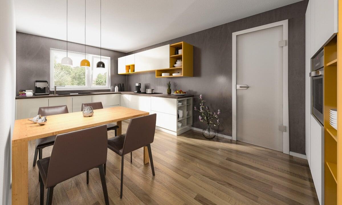 Küche modern mit Esstisch, Wandfarbe grau - Ideen Inneneinrichtung Doppelhaus AURA 136 von Town Country Haus - HausbauDirekt.de
