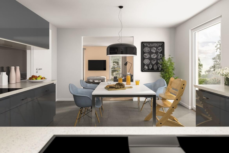 Küche mit Esstisch - Haus Design Ideen innen Town Country Haus Bungalow 131 - HausbauDirekt.de