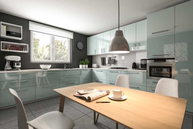 Wohnküche modern mit Esstisch aus Holz - Haus Design innen Ideen Town Country Massivhaus FLAIR 134 - HausbauDirekt.de