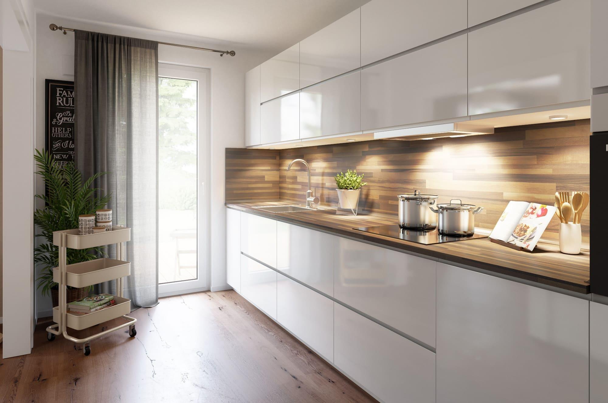 Küche modern weiß mit Holz - Haus Design Ideen Inneneinrichtung Town Country Haus Bungalow 78 - HausbauDirekt.de