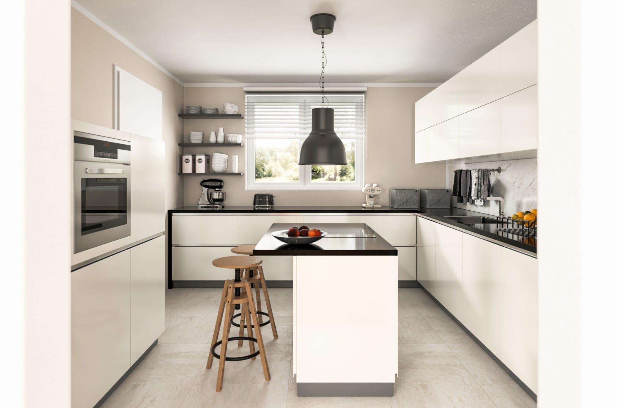 Küche modern weiß mit Kochinsel - Küchen Ideen Einrichtung Town Country Haus Flair 125 - HausbauDirekt.de