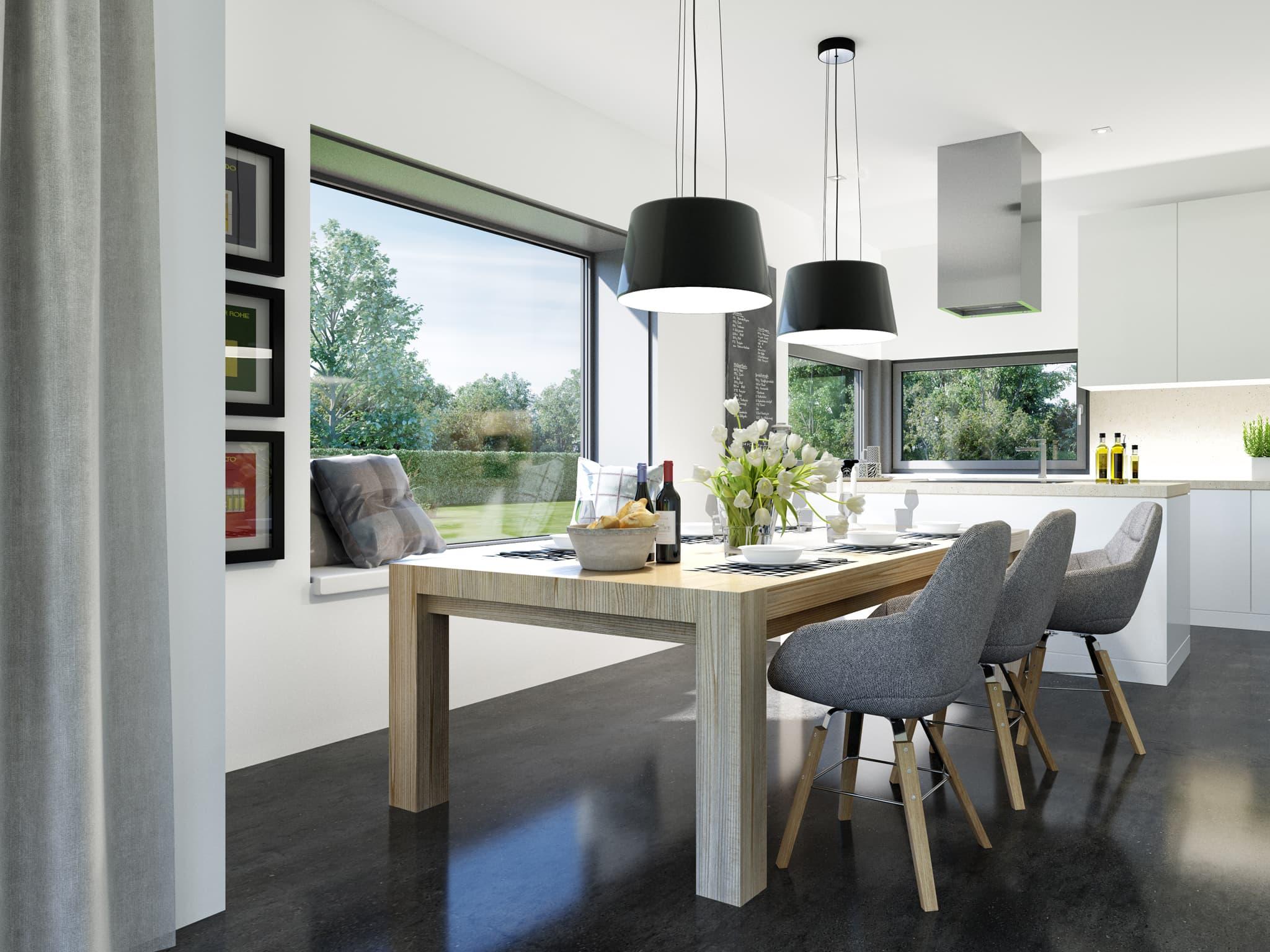 Offene Küche modern mit Esstisch aus Holz - Ideen Inneneinrichtung Haus Bien Zenker Fertighaus FANTASTIC 161 V2 - HausbauDirekt.de