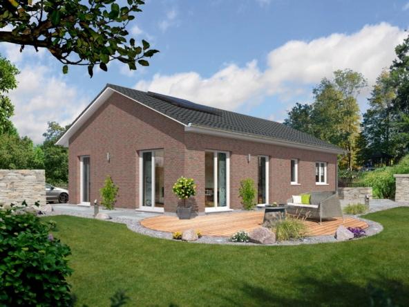 Massivhaus Bungalow mit Klinker Fassade & Satteldach Architektur - Town Country Haus BUNGALOW 100 - HausbauDirekt.de