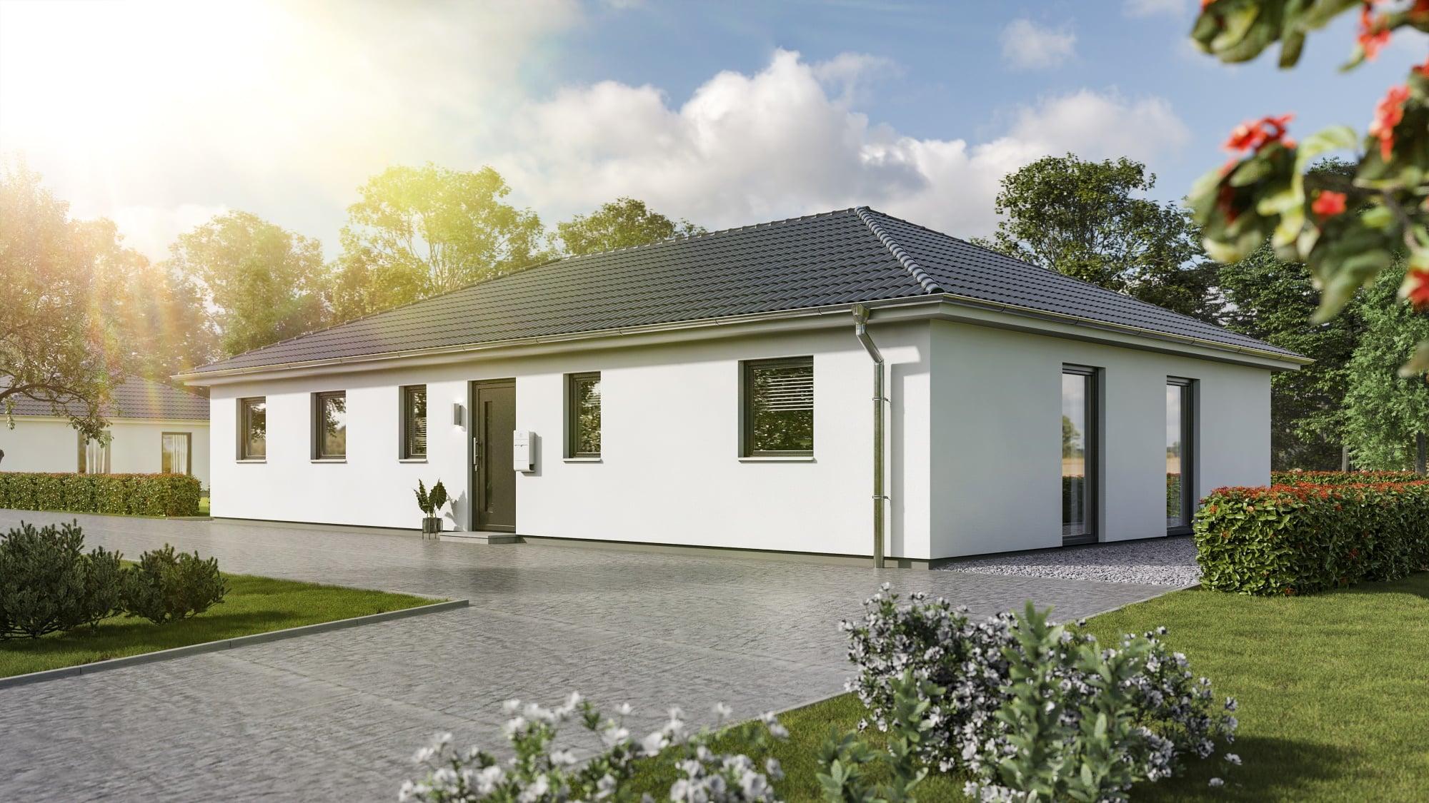 Bungalow Haus mit Walmdach Architektur, 5 Zimmer, 130 qm - Massivhaus Town Country Haus Bungalow 131 Elegance - HausbauDirekt.de