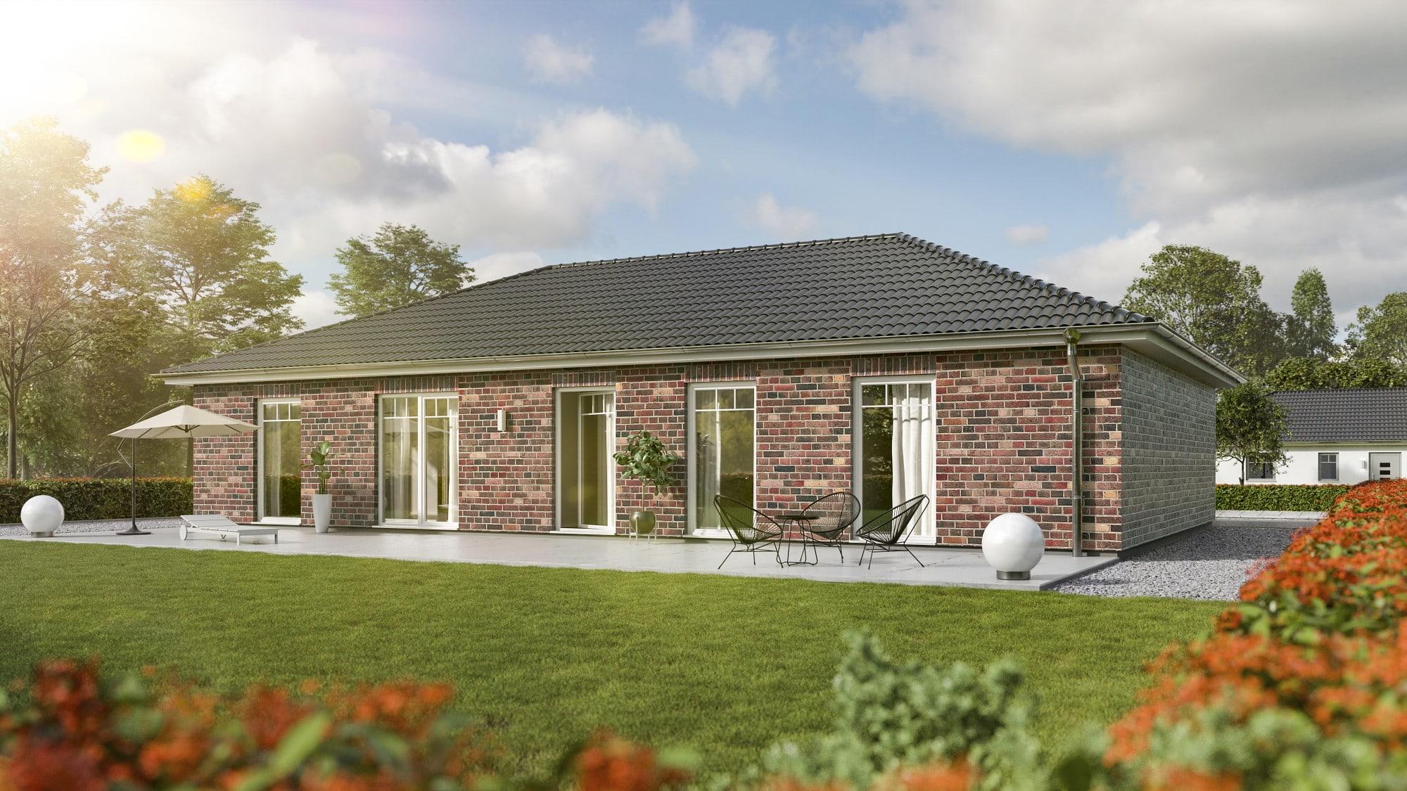 Bungalow Haus mit Klinker Fassade im Landhausstil, 5 Zimmer, 130 qm - Massivhaus bauen Ideen Town Country Haus Bungalow 131 Klinker rot - HausbauDirekt.de
