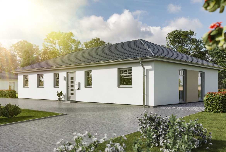 Bungalow Haus mit Walmdach, 5 Zimmer, 130 qm - Massivhaus Town Country Haus Bungalow 131 Trend - HausbauDirekt.de