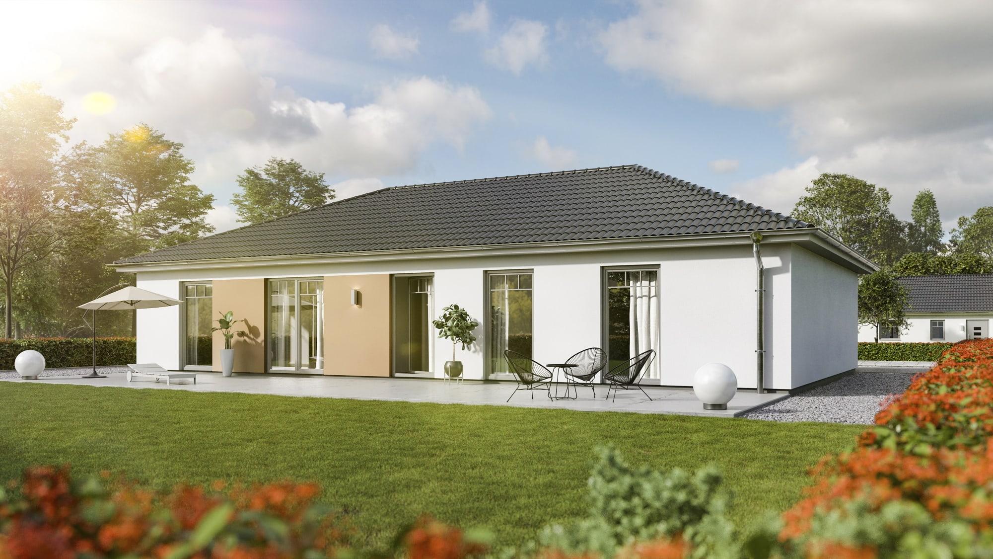 Bungalow Haus klassisch mit Walmdach, 5 Zimmer, 130 qm - Massivhaus Town Country Haus Bungalow 131 Trend - HausbauDirekt.de