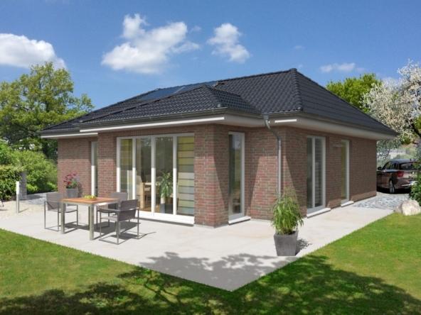 Bungalow Haus mit Klinker Fassade, Erker Anbau & Walmdach, 3 Zimmer, 90 qm - Massivhaus schlüsselfertig bauen Ideen Town Country Haus Bungalow 92 Klinker - HausbauDirekt.de