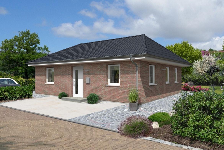 Bungalow Haus massiv mit Klinker Fassade & Walmdach, 3 Zimmer, 90 qm - Massivhaus schlüsselfertig bauen Ideen Town Country Haus Bungalow 92 Klinker - HausbauDirekt.de