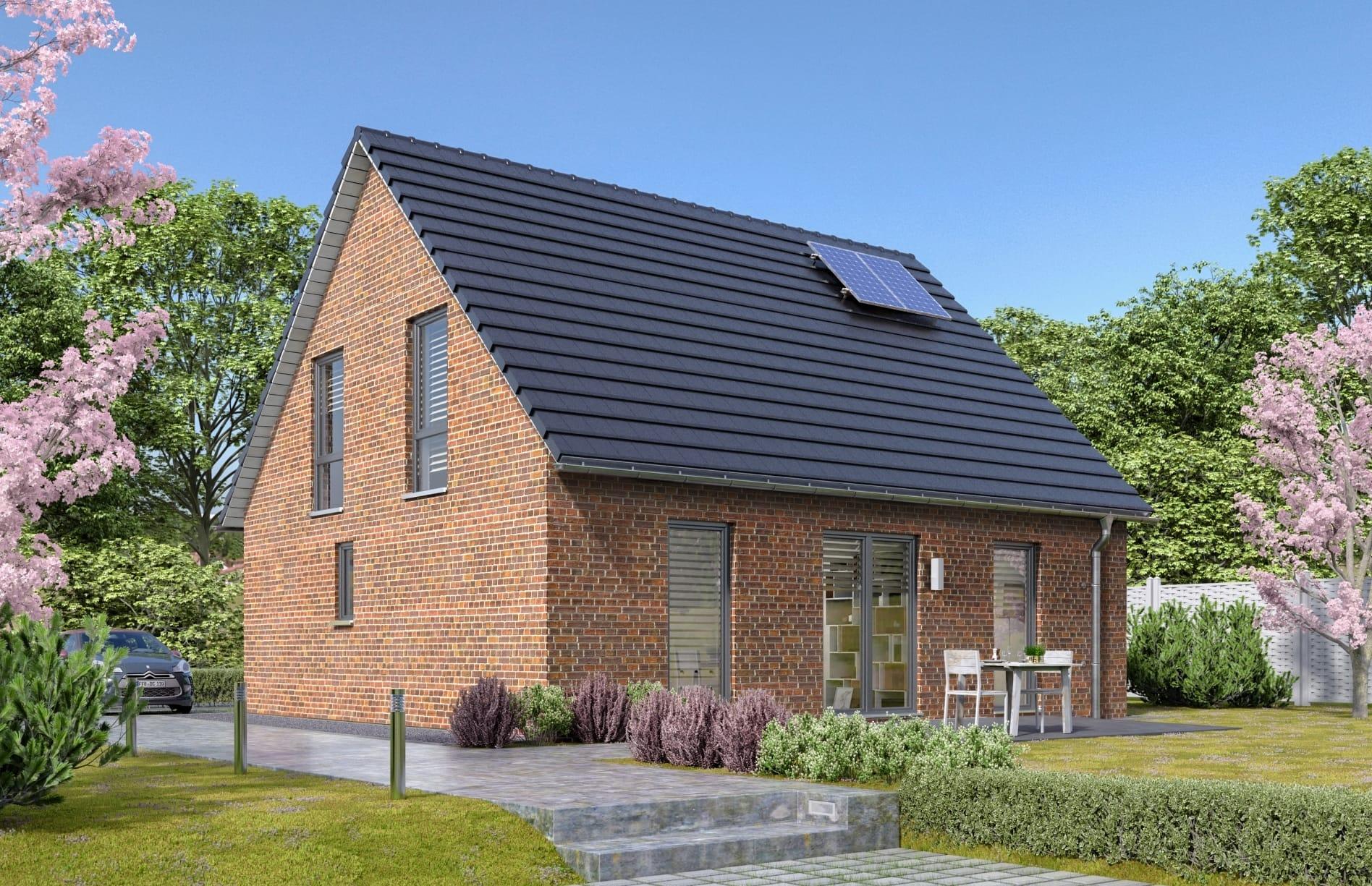 Massivhaus klassisch mit Satteldach Architektur & Klinker Fassade, 5 Zimmer, 120 qm - Town Country Haus Flair 130 Klinker - HausbauDirekt.de