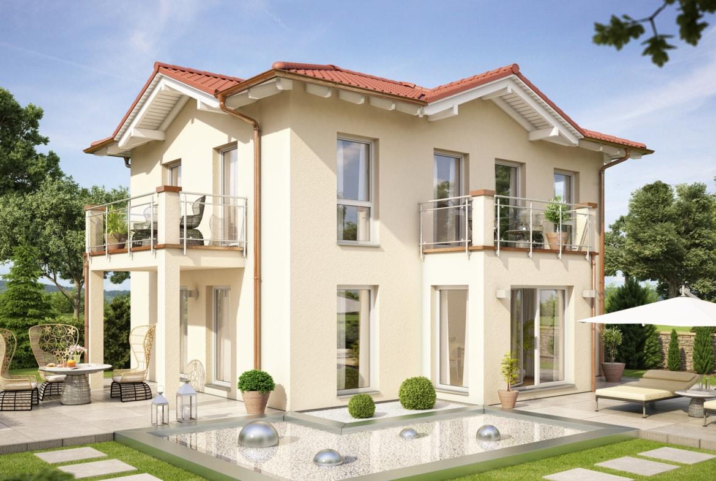 Fertighaus Stadtvilla mit Wintergarten Erker & Balkon im mediterranen Stil - Haus bauen Ideen Einfamilienhaus EVOLUTION 122 V10 von Bien Zenker - HausbauDirekt.de