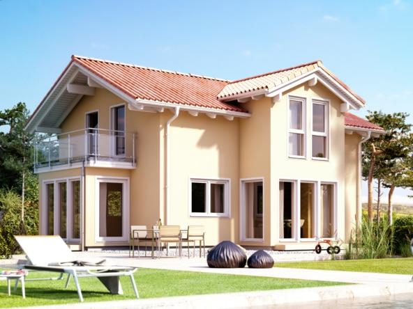 Fertighaus mediterran mit Satteldach, Giebel, Wintergarten Erker & Balkon - Haus bauen Ideen Einfamilienhaus EVOLUTION 122 V4 von Bien Zenker - HausbauDirekt.de