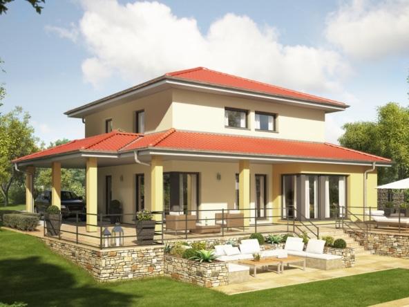 Mediterranes Haus modern mit Zeltdach Architektur, Erker, Balkon & Carport - Einfamilienhaus bauen Ideen Bien Zenker Fertighaus EVOLUTION 143 V8 - HausbauDirekt.de