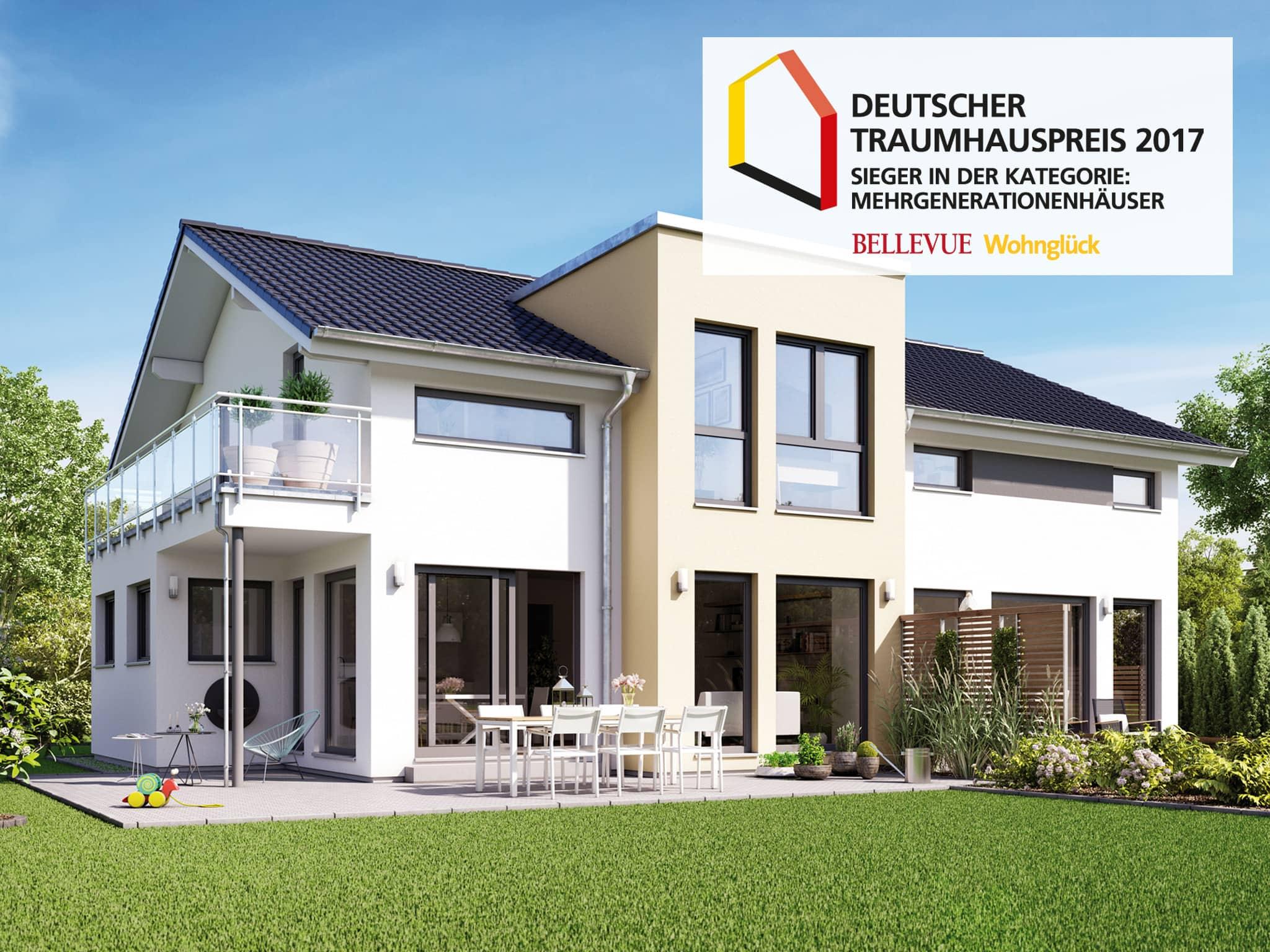 Mehrgenerationenhaus modern mit Einliegerwohnung, Satteldach Architektur, Zwerchgiebel Erker & Balkon - Haus bauen Ideen Fertighaus SOLUTION 230 V4 von Living Haus - HausbauDirekt.de