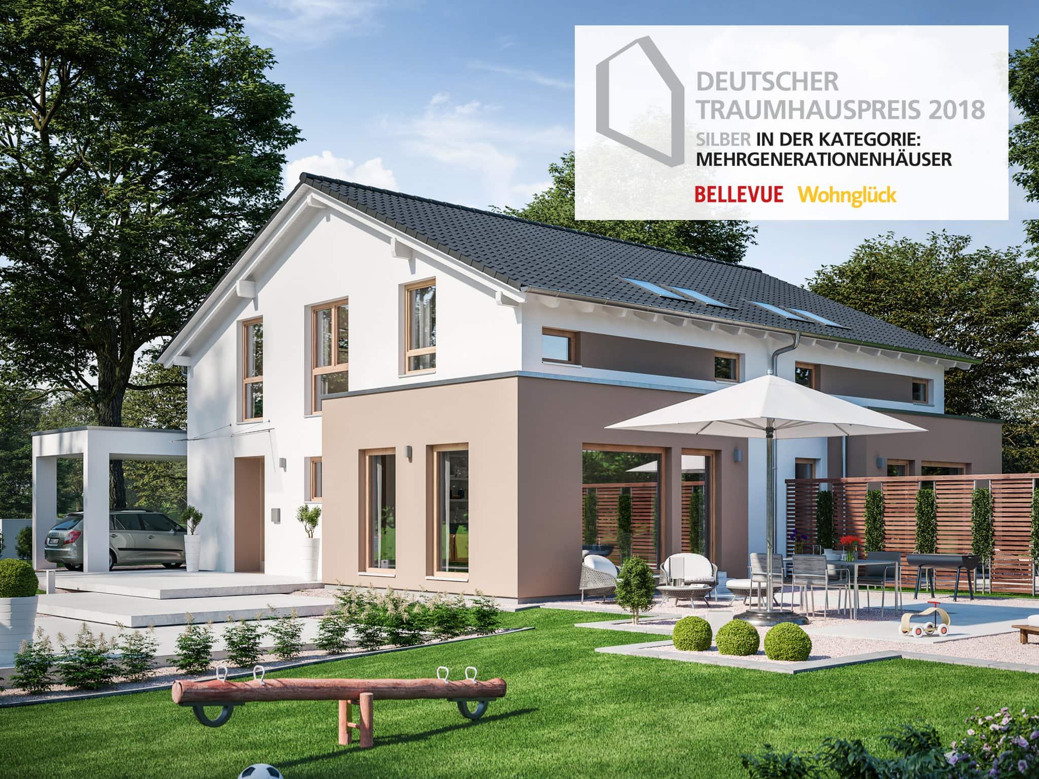 Mehrgenerationenhaus als Doppelhaus mit zwei Eingängen, Carport & Satteldach - Zweifamilienhaus bauen Ideen Fertighaus SOLUTION 242 V5 von Living Haus - HausbauDirekt.de