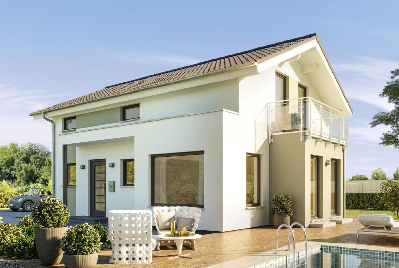 Modernes Haus Design mit Satteldach Architektur & Erker mit Balkon, 5 Zimmer, 120 qm - Einfamilienhaus bauen Ideen Bien Zenker Fertighaus EDITION 123 V4 - HausbauDirekt.de