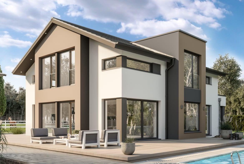 Modernes Haus Design mit Satteldach, Zwerchgiebel & Pool Terrasse, 5 Zimmer Grundriss, 195 qm - Bien Zenker Fertighaus CONCEPT-M 163 Dresden - HausbauDirekt.de