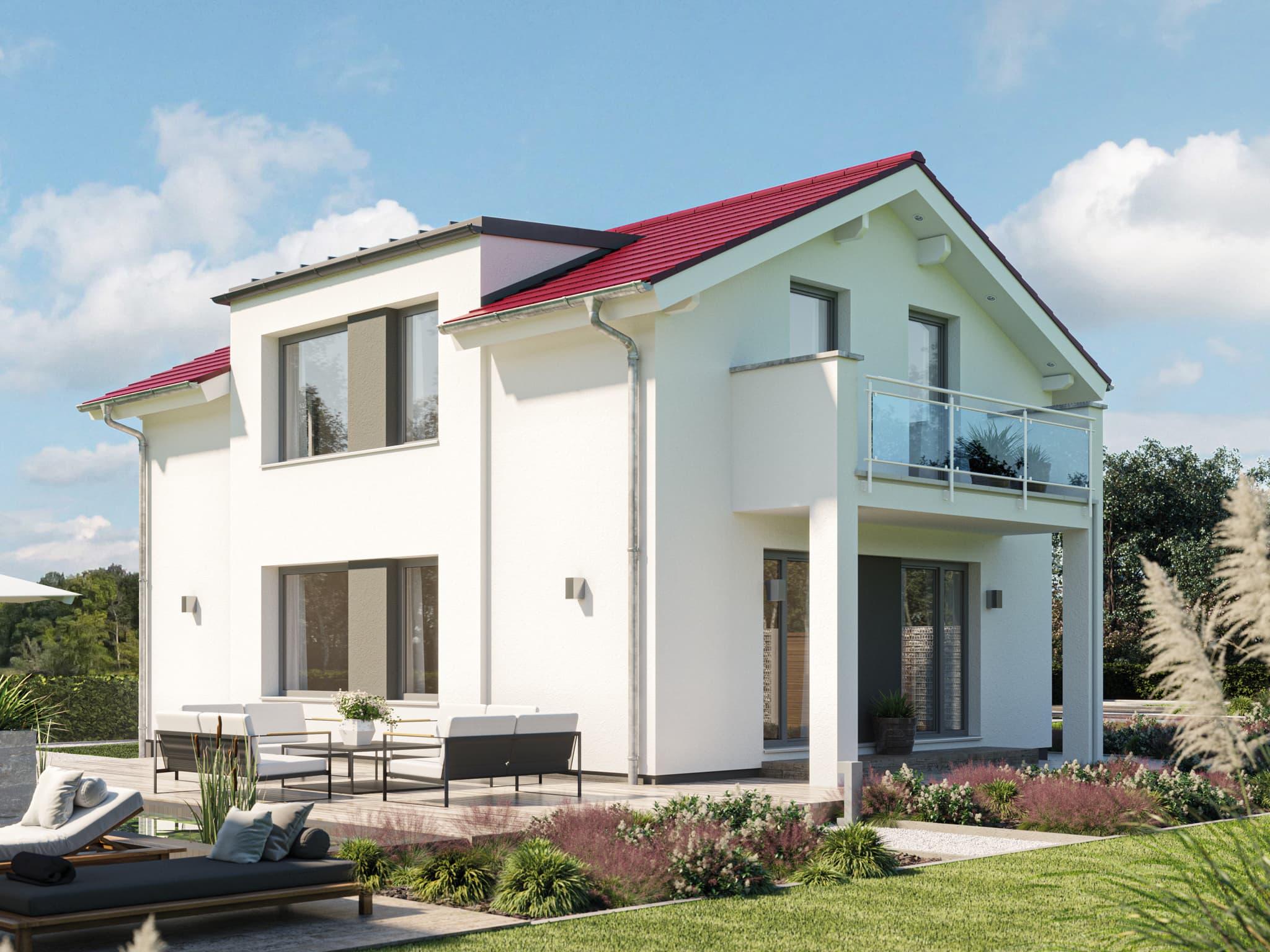 Modernes Haus mit flachem Satteldach, Zwerchgiebel & Balkon, 4 Zimmer, 120 qm - Einfamilienhaus bauen Ideen Bien Zenker Fertighaus EDITION 120 V3 - HausbauDirekt.de