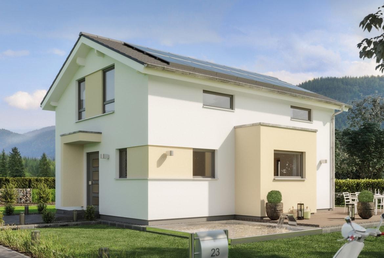 Modernes Fertighaus mit Satteldach & Erker, 5 Zimmer, 120 qm - Einfamilienhaus bauen Ideen Bien-Zenker Haus EDITION 123 V3 - HausbauDirekt.de