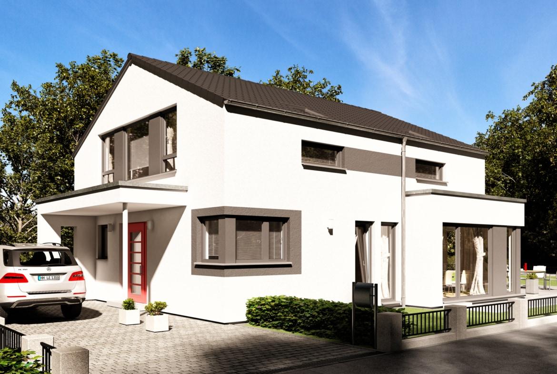 Modernes Haus mit Satteldach & Erker, 5 Zimmer, 165 qm groß - Einfamilienhaus bauen Ideen Bien Zenker Fertighaus FANTASTIC 162 V4 - HausbauDirekt.de