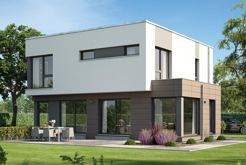 Modernes Kubus Haus mit Flachdach Architektur im Bauhausstil & Erker Anbau - Einfamilienhaus bauen Ideen Bien Zenker Fertighaus EVOLUTION 143 V9 - HausbauDirekt.de