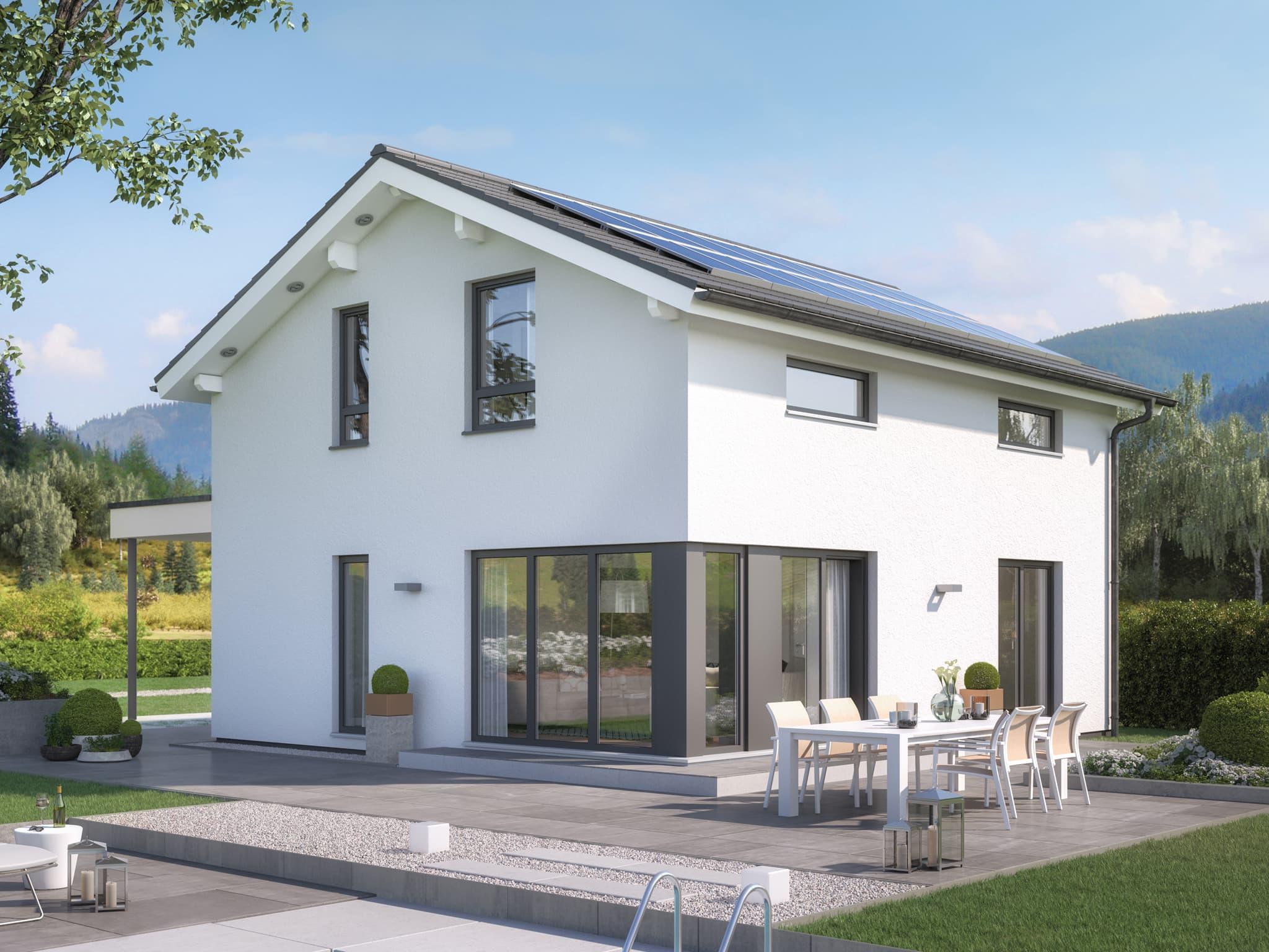 Modernes Satteldach Haus mit Putz Fassade, 4 Zimmer Grundriss, 125 qm - Einfamilienhaus bauen Ideen Bien Zenker Fertighaus EDITION 125 V4 - HausbauDirekt.de