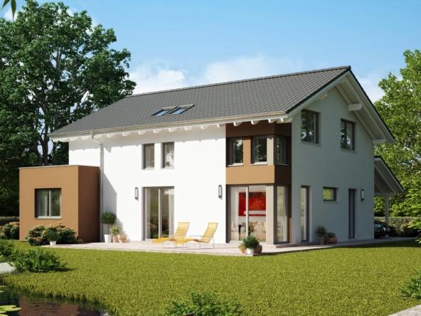 Modernes Satteldach Haus mit Erker & Carport - Einfamilienhaus bauen Ideen Bien Zenker Fertighaus EVOLUTION 165 V3 - HausbauDirekt.de