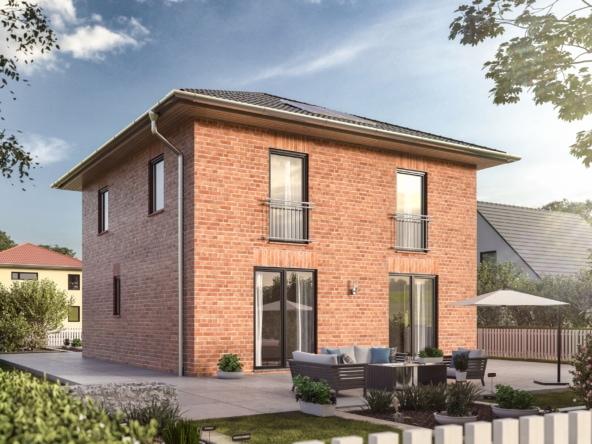 Neubau Stadtvilla mit Klinker Fassade, 4 Zimmer, 120 qm - Massivhaus bauen Ideen Town Country Haus Flair 124 - HausbauDirekt.de