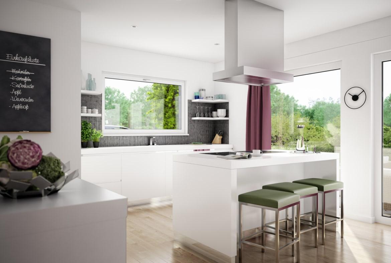 Moderne Küche offen mit Kochinsel weiss - Ideen Inneneinrichtung Einfamilienhaus EVOLUTION 122 V11 von Bien Zenker - HausbauDirekt.de