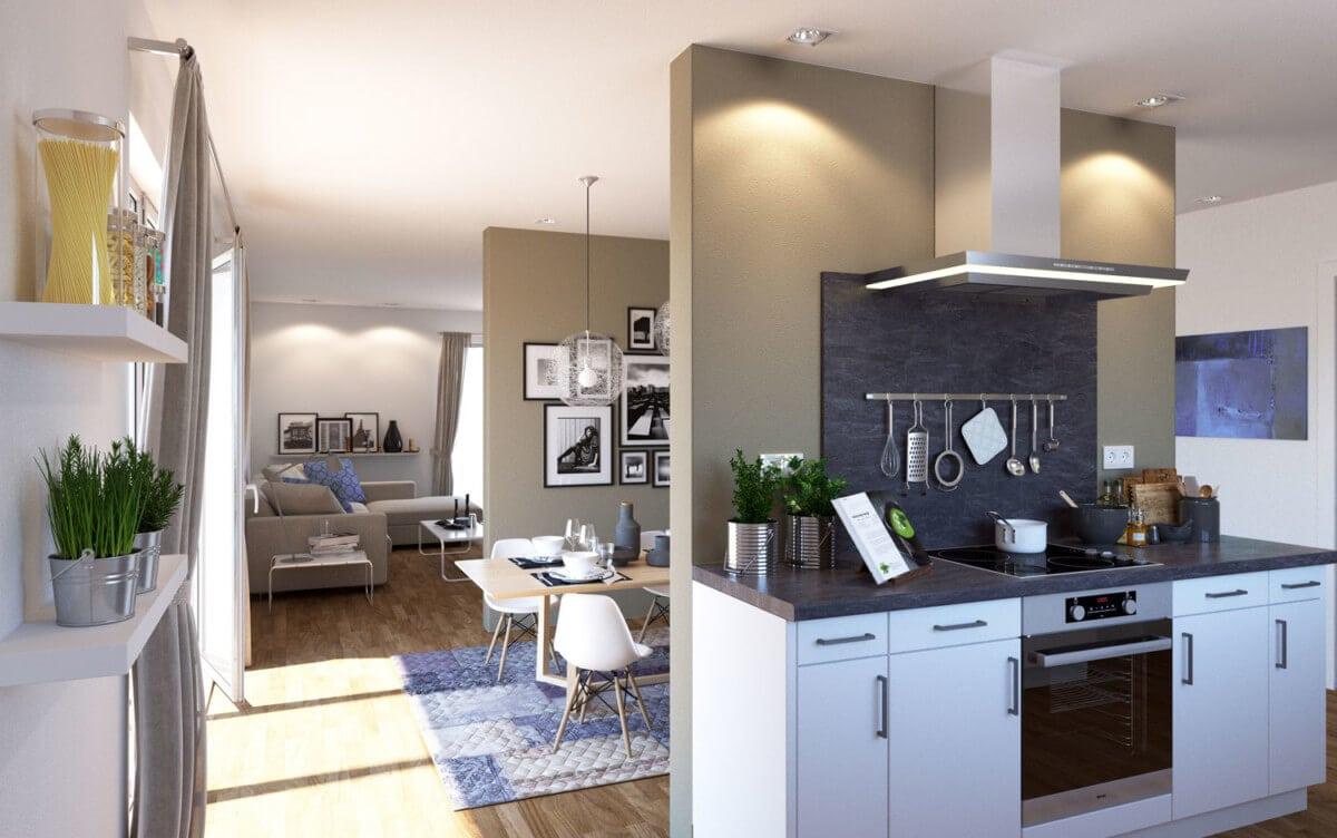 Bungalow Inneneinrichtung modern mit offener Küche & Kochinsel - Haus Design innen Ideen ScanHaus Marlow Fertighaus Bungalow SH 169 WB - HausbauDirekt.de