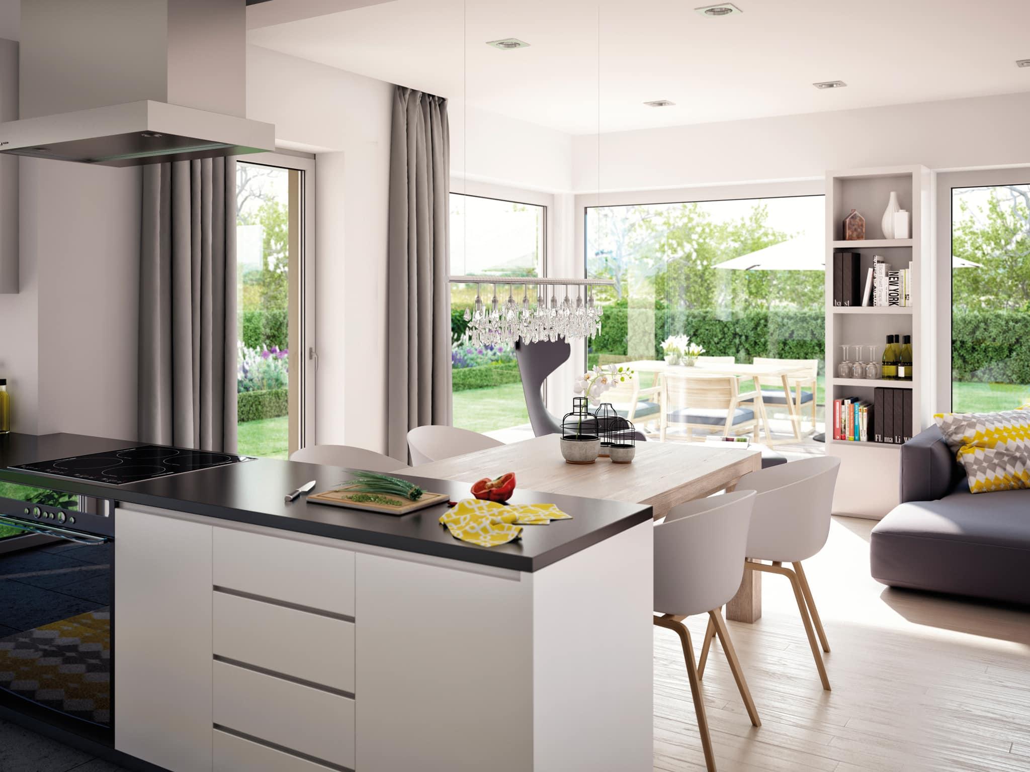 Offene Küche mit Esstisch - Inneneinrichtung Ideen Fertighaus Innen Living Haus SOLUTION 230 V5 - HausbauDirekt.de