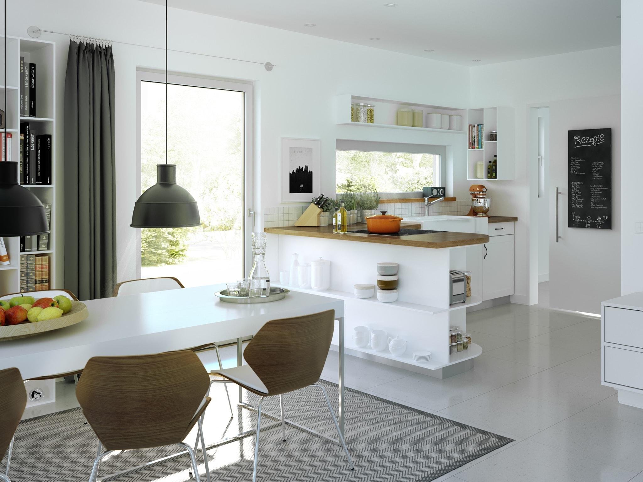 Offene Küche modern mit Essbereich - Ideen Inneneinrichtung Fertighaus SUNSHINE 165 V4 von Living Haus - HausbauDirekt.de