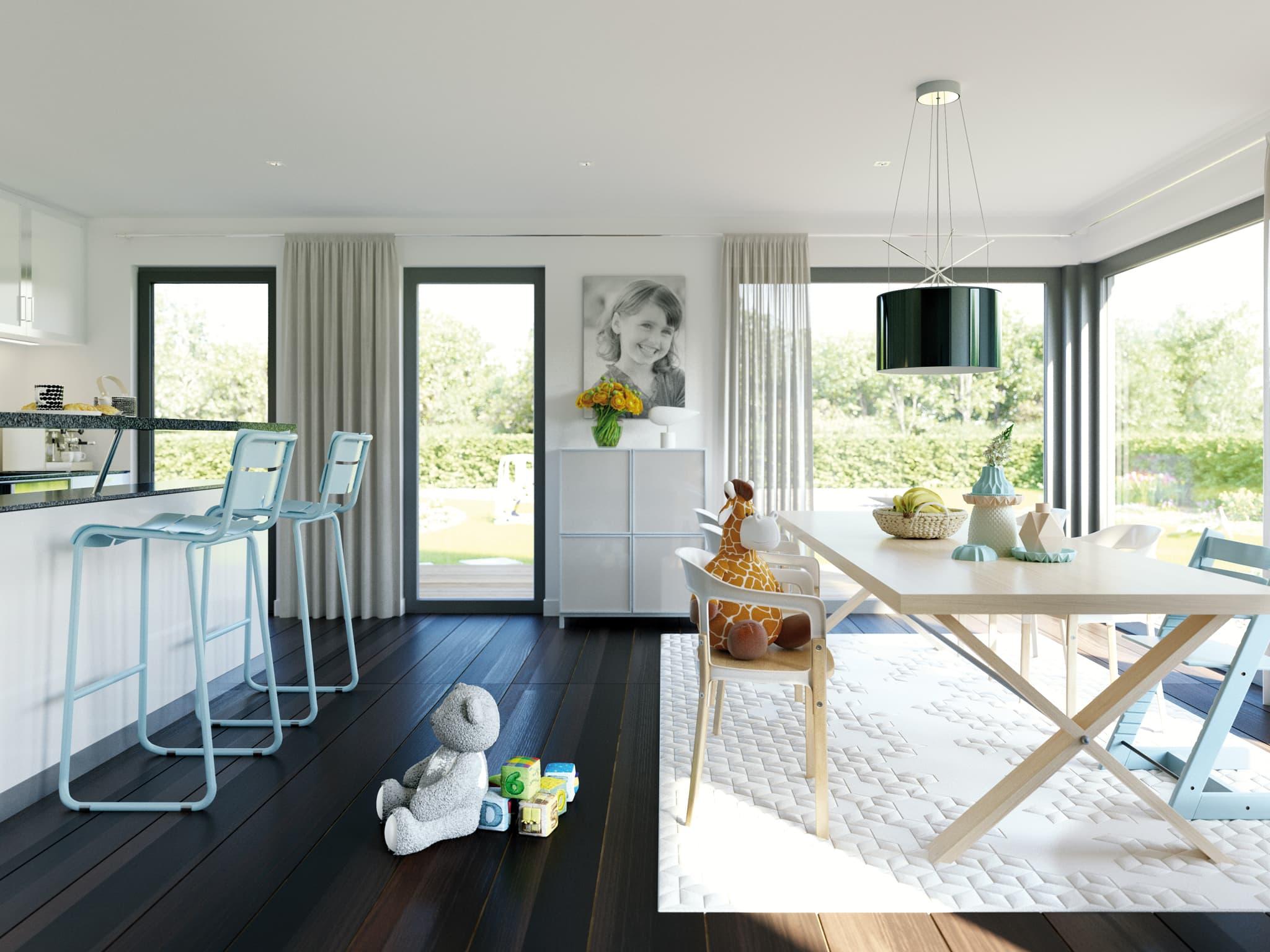 Offene Küche mit Esstisch - Ideen Einrichtung Fertighaus SOLUTION 230 V2 von Living Haus - HausbauDirekt.de