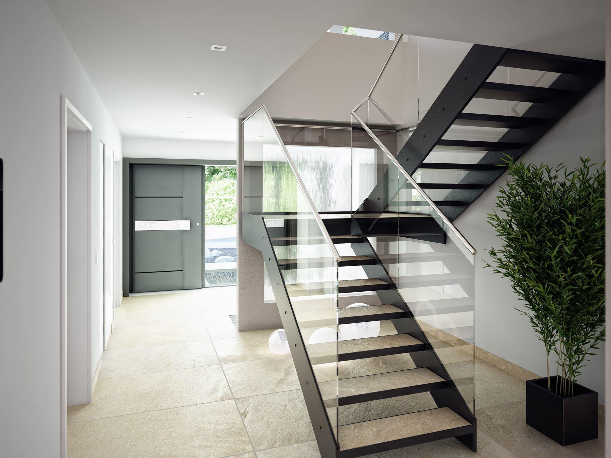 Offene Treppe Flur - Ideen Inneneinrichtung Einfamilienhaus Bien-Zenker Fertighaus CONCEPT-M Muenchen - HausbauDirekt.de