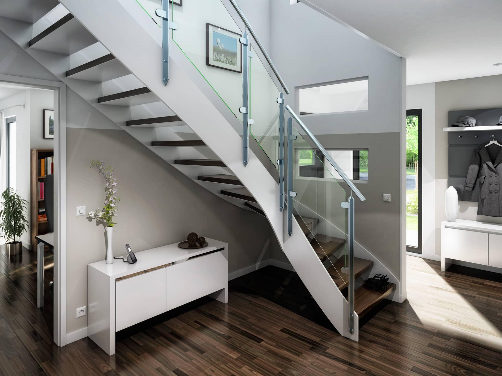 Offene Treppe im Eingangsbereich innen - Wohnideen Inneneinrichtung Haus Bien Zenker Fertighaus EVOLUTION 143 V6 - HausbauDirekt.de