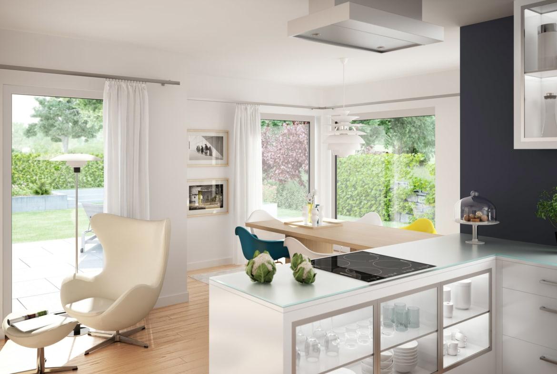 Offene Küche modern mit Essbereich - Ideen Inneneinrichtung Haus EVOLUTION 124 V4 von Bien Zenker - HausbauDirekt.de