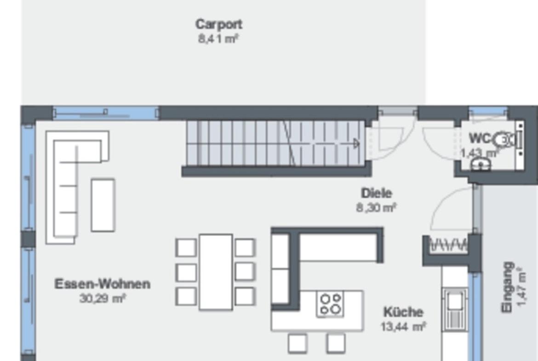 Einfamilienhaus Grundriss Erdgeschoss offen, Treppe gerade & Carport - Fertighaus Design Ideen Modernes Pultdach Haus von WeberHaus - HausbauDirekt.de