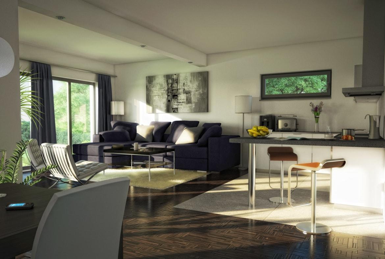 Wohn-Esszimmer offen mit Küche - Ideen Inneneinrichtung Bungalow Haus AMBIENCE 111 V3 von Bien Zenker - HausbauDirekt.de
