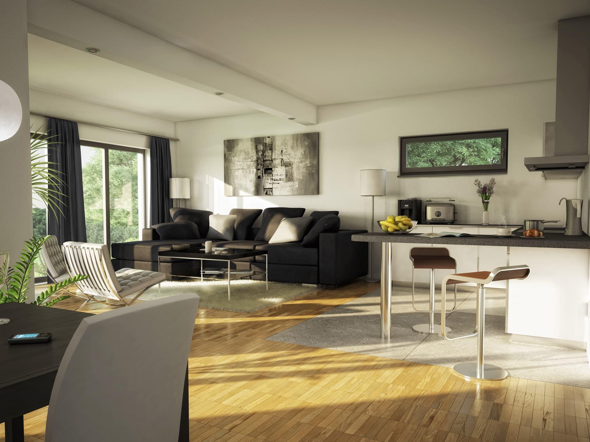 Offenes Wohnzimmer mit Essbereich & Küche - Ideen Inneneinrichtung Bungalow Haus AMBIENCE 111 V2 von Bien Zenker - HausbauDirekt.de
