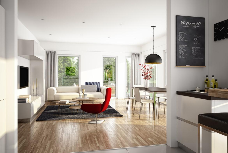 Offenes Wohnzimmer modern mit Essbereich - Inneneinrichtung Haus Ideen Bien Zenker Fertighaus EVOLUTION 139 V3 - HausbauDirekt.de