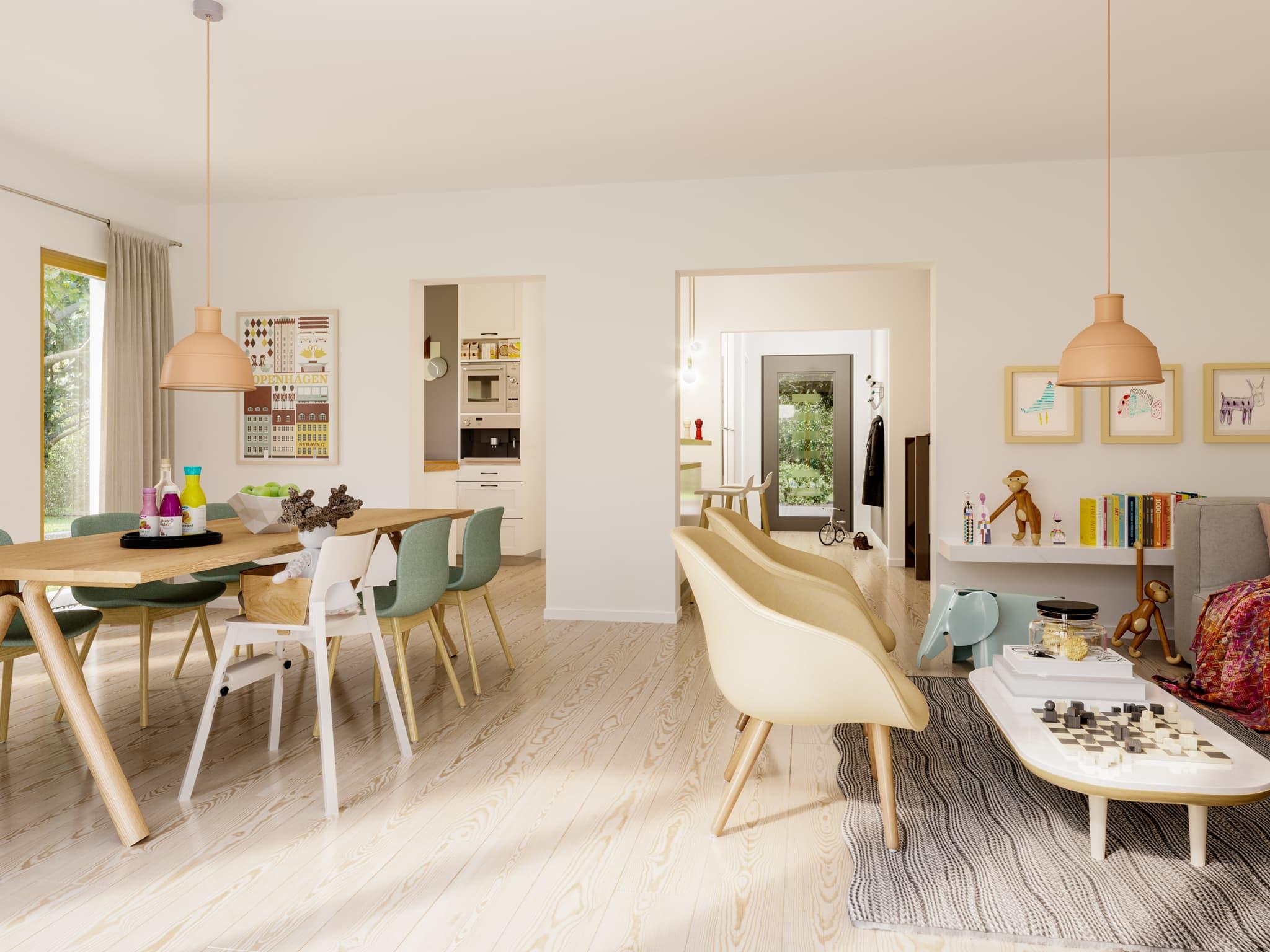Offenes Wohnzimmer mit Essbereich - Ideen Inneneinrichtung Fertighaus SOLUTION 242 V4 von Living Haus - HausbauDirekt.de
