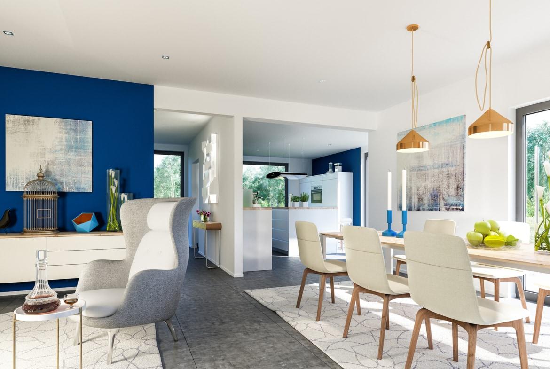 Offenes Wohn-Esszimmer mit Küche - Inneneinrichtung Ideen Bien Zenker Haus FANTASTIC 163 V4 - HausbauDirekt.de