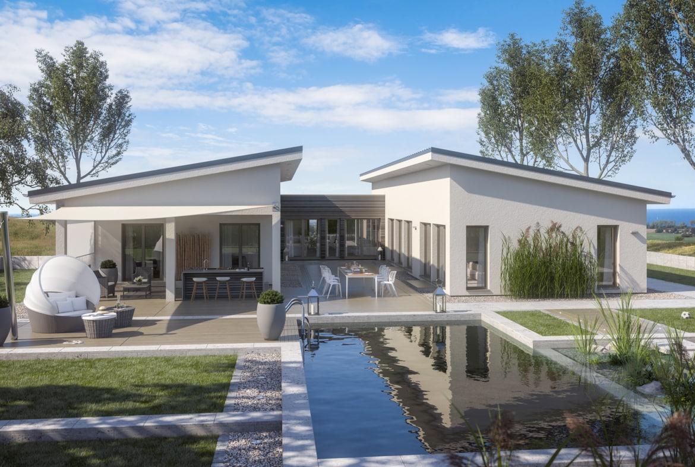 Fertighaus Pultdach Bungalow AMBIENCE 209 PD Bien Zenker Haus bauen Ideen - HausbauDirekt.de