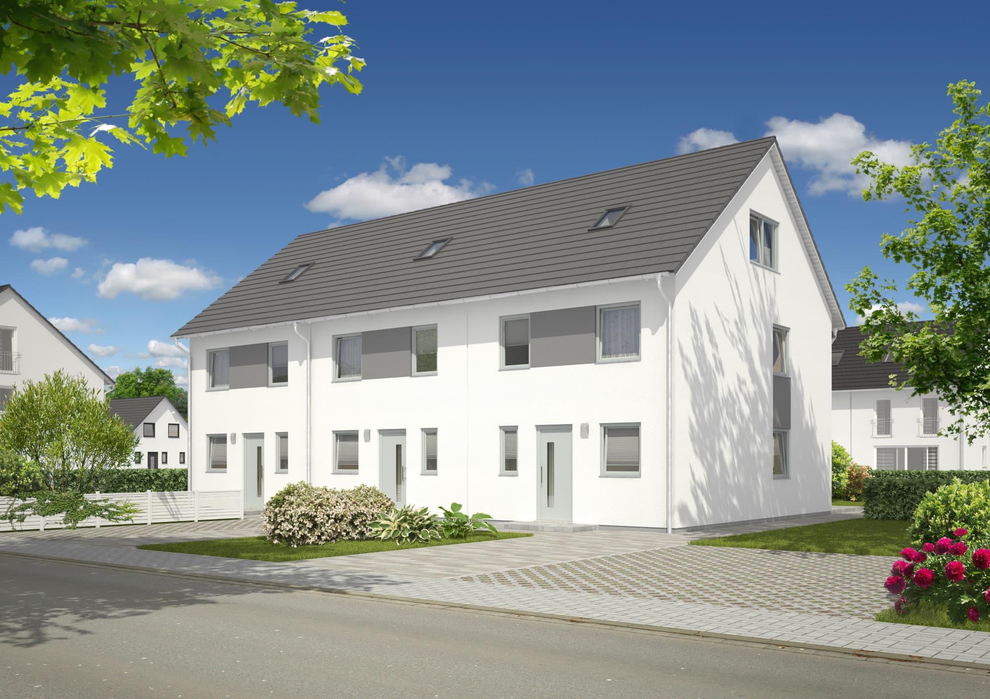 Reihenhaus Neubau mit Satteldach Architektur - Massivhaus bauen Ideen Town Country Haus Mainz 128 Elegance - HausbauDirekt.de