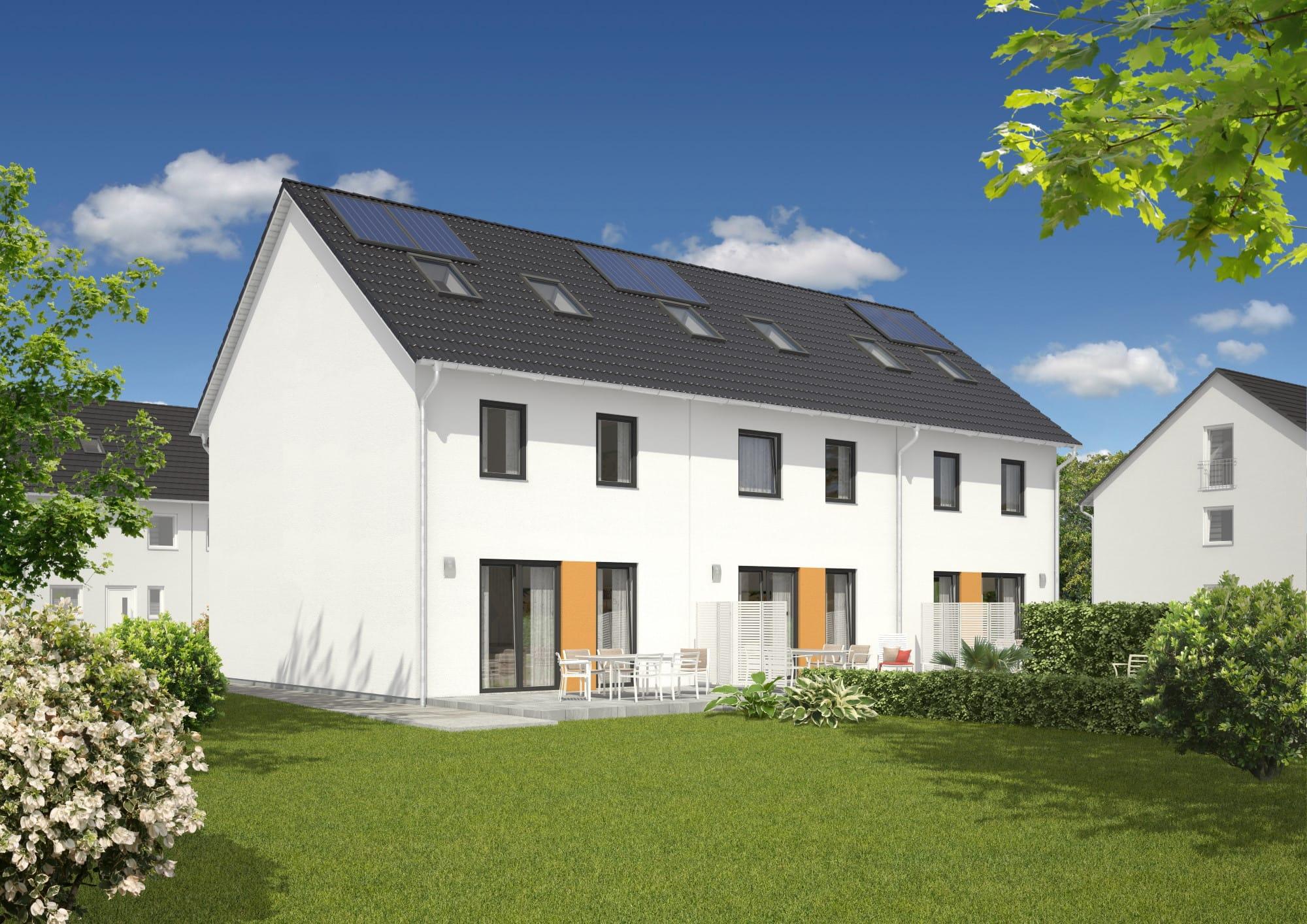 Reihenhaus mit Satteldach - Massivhaus bauen Ideen Town Country Haus Mainz 128 Style - HausbauDirekt.de