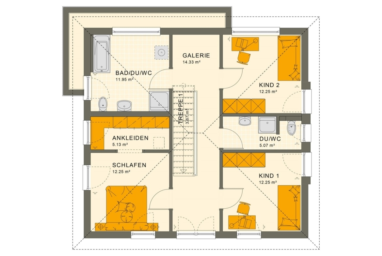 Stadtvilla Grundriss Obergeschoss Treppe gerade mit Galerie, 5 Zimmer, 150 qm - Fertighaus SUNSHINE 154 V6 von Living Haus - HausbauDirekt.de